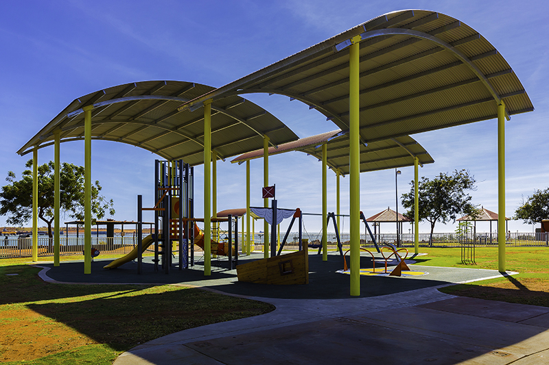 Exteria playground shelters at Marapikurrinya Park, Port Hedland