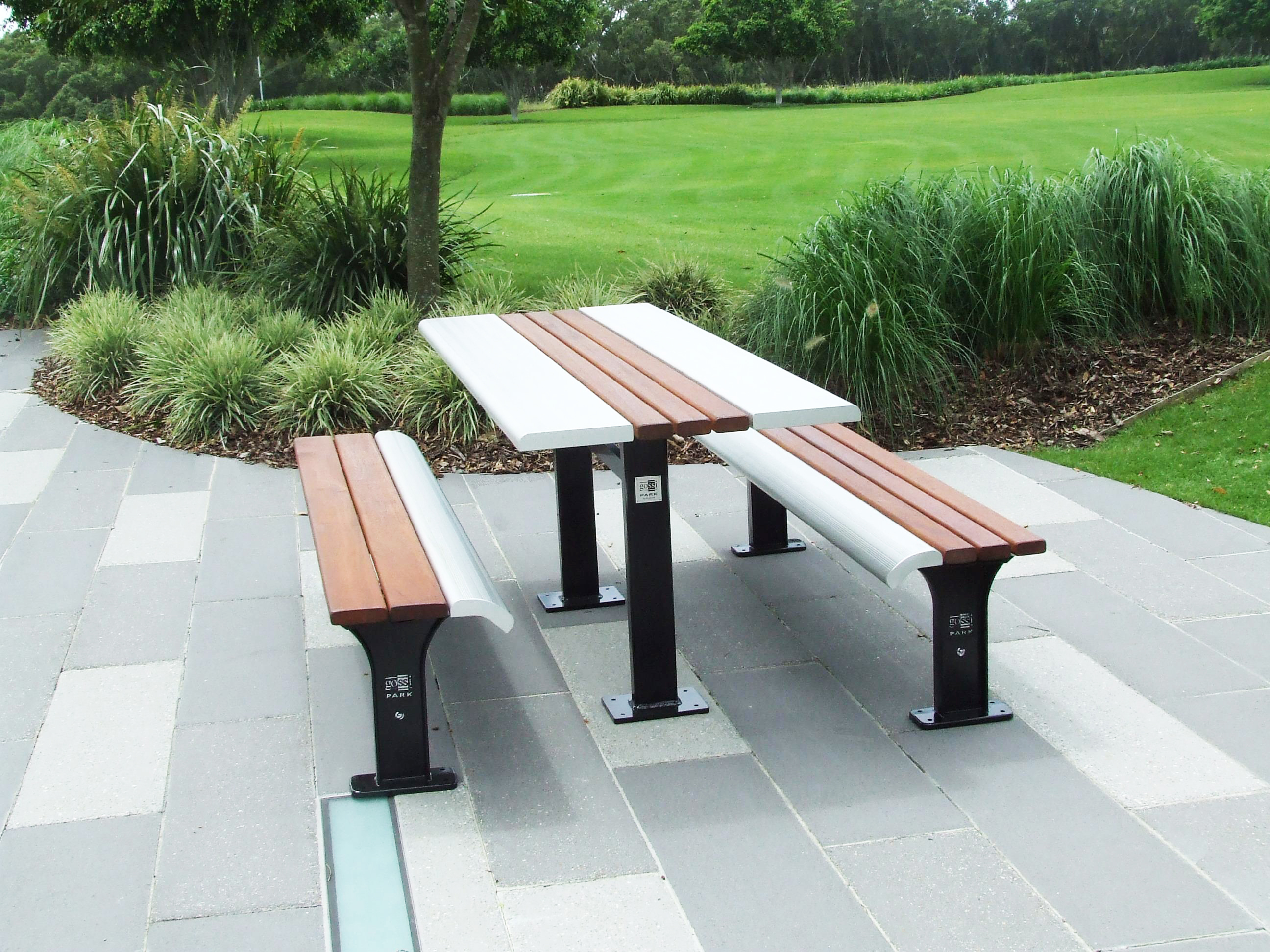 Public benches exteria street park outfitters for Landscape timber bench