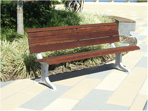 Public seats exteria street park outfitters for Landscape timber bench